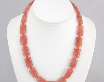"""Strawberry Pink """"Quartz"""" Necklace with 14K Gold-Filled Clasp"""