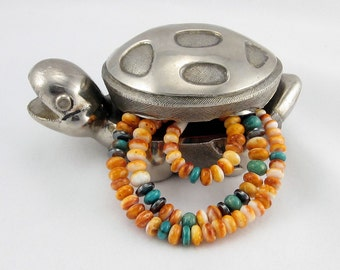 Vibrant Orange Spiny Oyster Shell, Green Turquoise and Hematite Unisex Necklace Sterling Silver Clasp