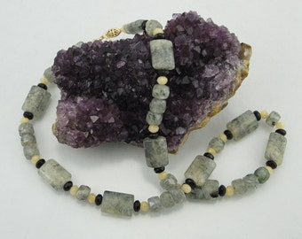 Green Tourmalinated Quartz, Yellow Jade, and Black Czech Crystal Necklace with 14K Gold-Filled Clasp