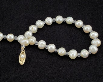 Cultured Freshwater Pearl and Faceted Crystal Quartz Necklace w/ 14K Yellow Gold and Pearl Clasp