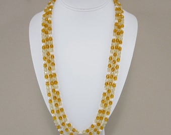 Jonquil and Topaz Swarovski Crystal and Cultured Freshwater Pearl Necklace with 14K Yellow Gold Clasp