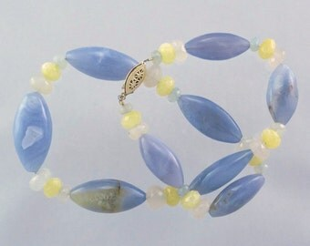 Blue and Blue-Gray Chalcedony and Yellow Jade Necklace with 14K Gold Filled Clasp