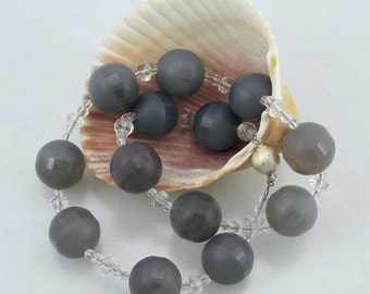Faceted Stripe Space Eye Gray Onyx, Crystal Quartz, and Czech Crystal Necklace with Sterling Silver Clasp