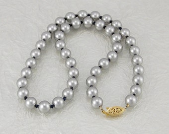 Deep Blue Kyanite and Light Gray Swarovski Crystal Pearl Necklace with 14K Gold Filled Clasp