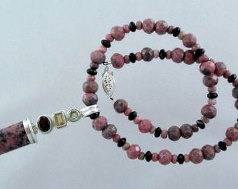 Pink and Charcoal Rhodonite and Czech Crystal Necklace with Peridot, Garnet, and Citrine Pendant
