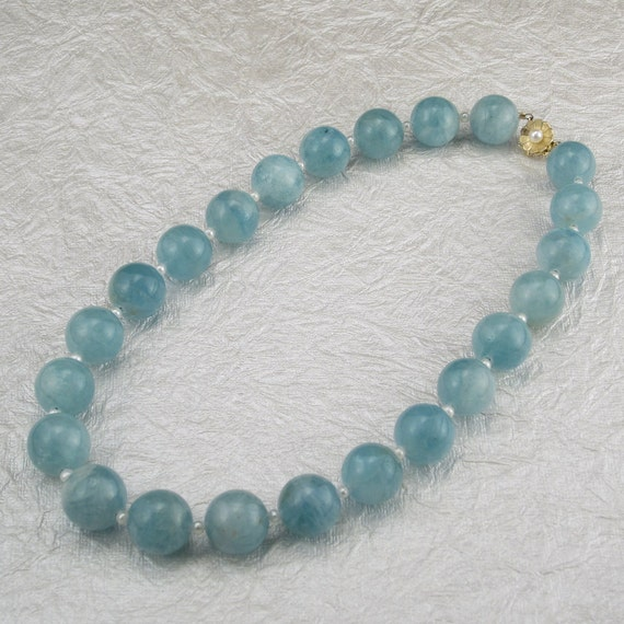 Breathtaking Blue Aquamarine Gemstone Bead and Pearl Necklace with 14K Gold and Pearl Clasp
