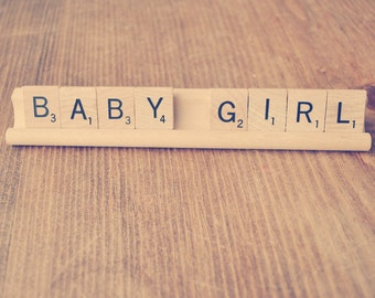 Baby Girl Scrabble Sign Gender Reveal Sign Birth Announcement Sign Maternity Photo Shoot Prop // Baby Shower Decoration