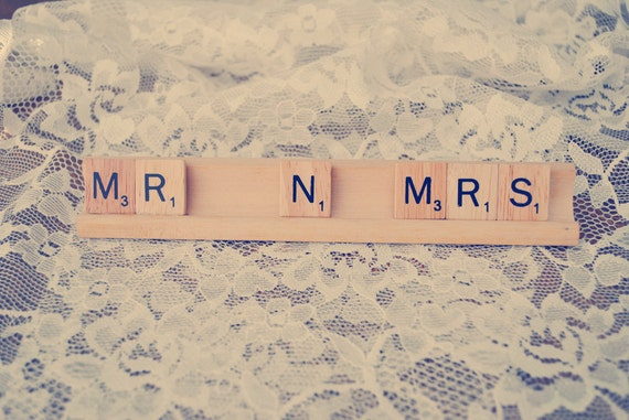Mr and Mrs Sign Wedding Sign Newlywed Scrabble Sign Mr N Mrs