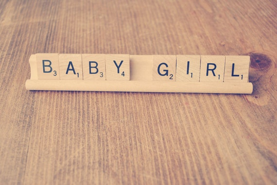 Baby Girl // Scrabble Sign // Gender Reveal // Birth Announcement Sign