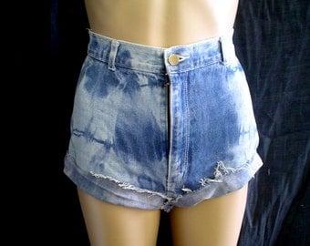 "80s 26"" 11 CD'A Sport Jeans Tie Dye Denim CUT OFFS Shorts Blue"