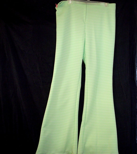 "SALE 36-38"" Large Mens Disco Mint Green Gingham Check Travolta BELL Bottoms Pants WeirdoWear"