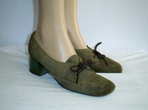 60s 8 AA N Style House Mod Suede Leather Lace Up SHOES Olive Avocado Green