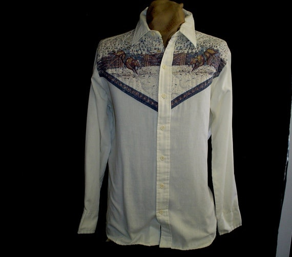 """70s 80s 16"""" Large Kennington Quilted Western Cowboy Rodeo Bull SHIRT Off White Blue"""