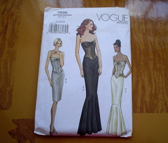 Vogue 14 16 18 Strapless Bustier/Halter Mermaid/Pencil Skirt