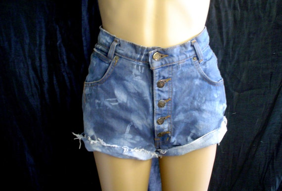 "26"" High Waisted Button Fly Tie Dye Blue/Gray Denim CUT OFFS Shorts Stone"