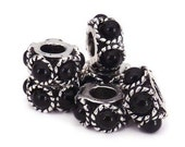 SALE--Two Silver Plated Black Faux Pearl Spacers for European Style Bracelets, Necklaces and Other Accessories