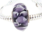 Purple with White Accents European Style Large Hole Bead with a Silver Plated Core