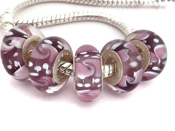 Dark Purple with Light Purple and White European Style Lampwork Glass Bead with a Sterling Silver Core
