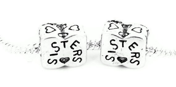 SALE - One Silver Plated  SISTERS Charm for European Style Large Hole Jewelry