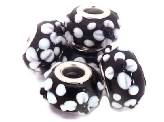 SALE - Black with White Textured Flowers European Style Large Hole Bead with a Silver Plated Core