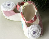 Baby Souls - Baby Shoes Mary Jane Pink Print with White Cloth Flower - Not-so-Plain Jane Series