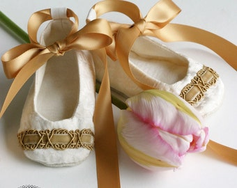 Ivory and Gold Baby Shoes, Toddler, Little Girls Shoe, Bootie, Crib Shoe, Couture Ballet Slipper, Christening Ballet Flat, Dance, Baby Souls