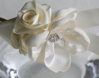 Baby Headband, Toddler Flower Girl, Ivory Ribbon Roses, Satin Magnolia Flower, Wedding accessories, Spring Weddings, Baby Souls Accessories