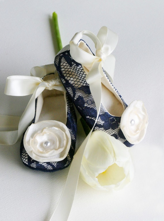 RESERVED LISTING - Ballet Slipper, Navy Lace & Satin with Clover Flower - 1 child's size, 1 infant size