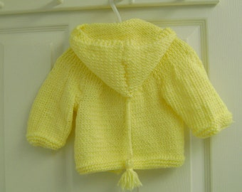 Knit Baby Hoodie Yellow 6 to 12 months