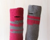 Fingerless gloves Raspberry and grey - wrist warmer -  Winter accessories - wool - One of a Kind