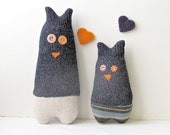 Upcycled Owls mom and son- Soft and cuddling plushies
