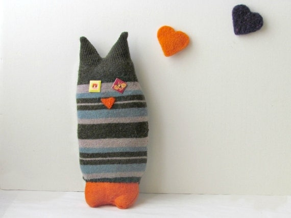 Upcycled Owl stripe - Soft and cuddling plushies