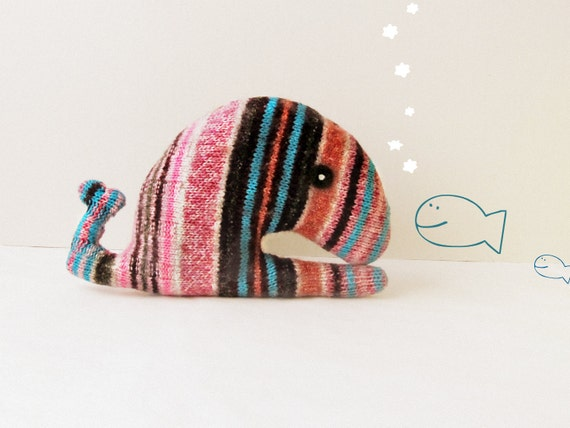 Upcycled whale striped - Soft and cuddling plushies
