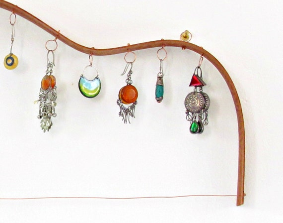 Earrings rack - Mahogany guitar shaped - upcycled eco friendly