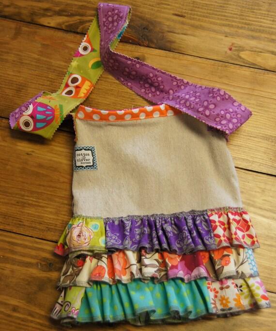 Ruffled Appliqued Canvas Crossbody Bag for Girls