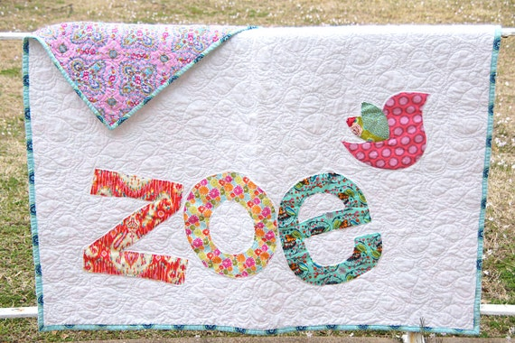 Personalized Quilt, Custom Name Quilt, Baby Quilt,  Raw Edge Applique Quilt