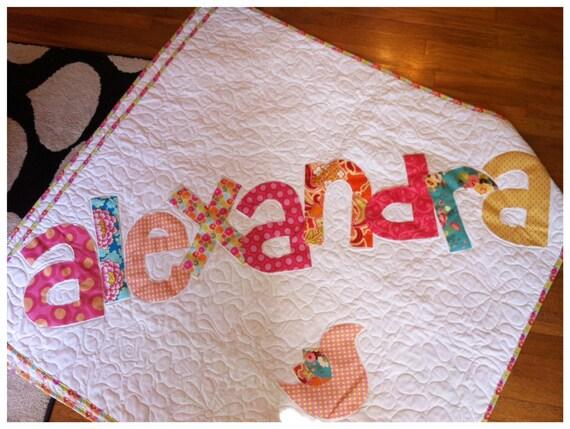 Personalized Quilt, baby quilt, Raw Edge Applique Quilt, Name Quilt