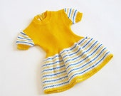 1970's Vintage yellow striped baby dress