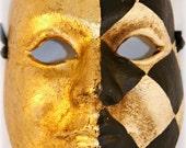 Checkered Masquerade Mask with Gold - Handmade Paper Mache Venetian Mask