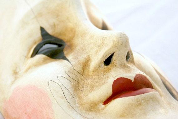 Harlequin Pierrot Moon Venetian Mask - Masquerade Mask - Mardi Gras Mask - Halloween Mask
