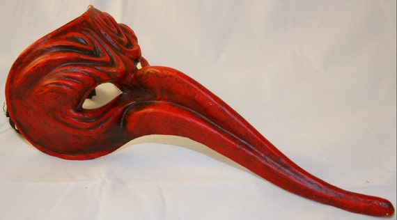 Gothic Halloween Mask - Red Bird Mask - Commedia Dell'Arte - Venetian Masquerade Mask