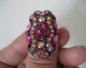 Vintage Copper and Pink Rhinestone Ring