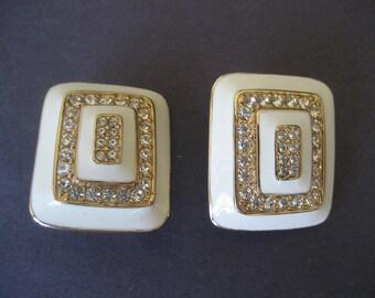 Vintage Enamel and Rhinestone Earrings by Ciner