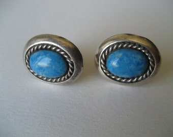 Vintage Sterling Dyed Blue Stone Earrings