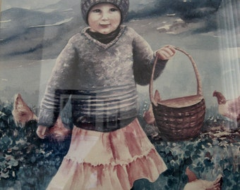 Watercolor Print Of Girl Feeding The Chickens Signed by Jan Barba Horn