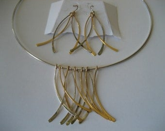 Sterling Silver Swish Choker Necklace and Earrings by Andrea Valentini