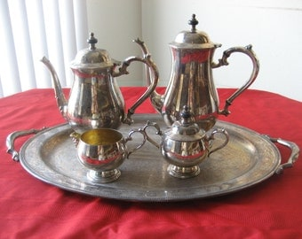 SALE Vintage Silverplate 5 Piece Coffee and Tea Set by Oneida