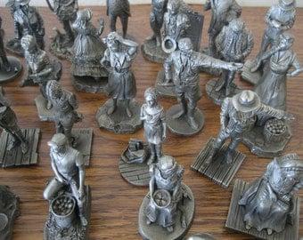 SALE Vintage Franklin Mint Saturday Evening Post Pewter 49 Piece Figurine Set