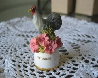 Vintage Delaware State Bird and Flower Thimble Sutherland England