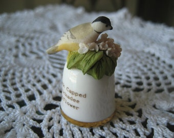 Vintage Massachusetts State Bird and Flower Thimble Sutherland England